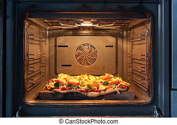 caliente, cocina, horno de pizza, aire