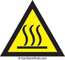 caliente, cuidadoso, triángulo, señal