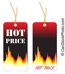 caliente, etiquetas precio