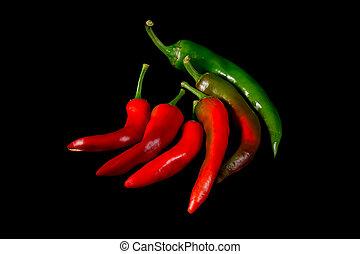 caliente, fondo negro, pimientas, chile verde, rojo