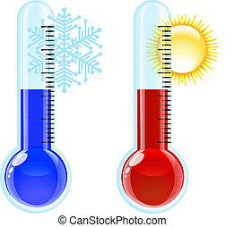 caliente, frío, icon., termómetro