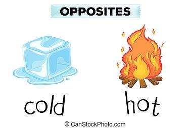 caliente, frío, palabras, contrario