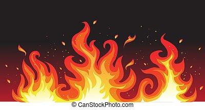 caliente, fuego, en, negro