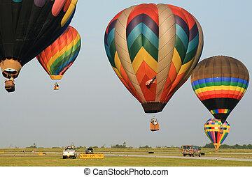 caliente, globos, aterrizaje, aire