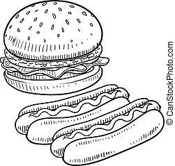 caliente, hamburguesa, perro, bosquejo