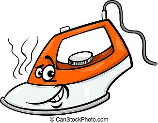 caliente, hierro, caricatura, ilustración
