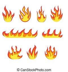 caliente, ignición, fuegos, caricatura, inflamable, concepto, flame., imagen, fuego, incendio, llameante, explosión, vector, calor, peligro, energía, llamas
