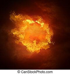 caliente, pelota del fútbol, en, el, velocidad, en, fuegos, llama