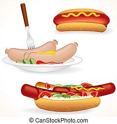 caliente, perro, ilustraciones