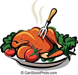 caliente, pollo, asado