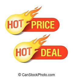 caliente, precio, trato, etiquetas