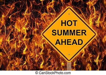 caliente, señal, adelante, precaución, verano