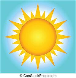 caliente, sol, con, plano de fondo