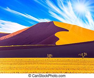caliente, sol, de, el, desierto