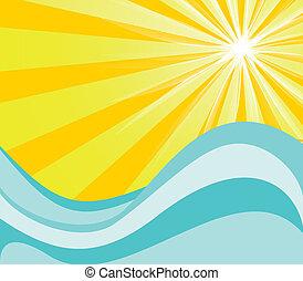 caliente, sol, y, agua
