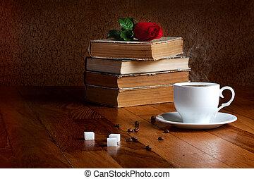 Resultado de imagen de cafe libro y rosa