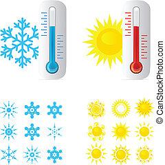 caliente, termómetro, frío, temperatura