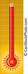caliente, -, termómetro
