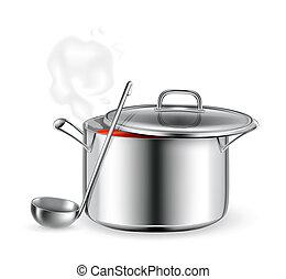 caliente, vector, sopa