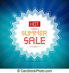 caliente, verano, venta, título, en, vector, fondo azul