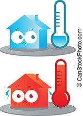 caliente, y, frío, casa