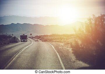 califórnia, campista, viagem, furgão