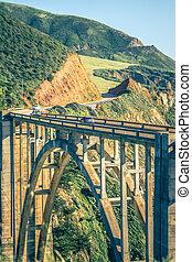 califórnia, ponte bixby, em, sur grande, município monterey, em, rota, 1