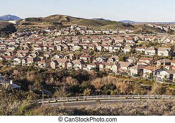 califórnia, suburbano, manhã