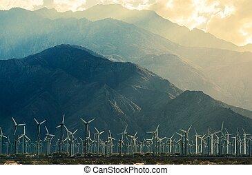 califórnia, turbinas, deserto, vento