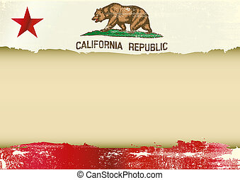californië, horizontaal, gekraste, vlag