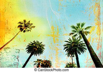 californië, palmboom, het kunstwerk