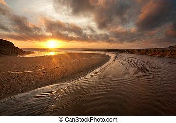 californië, strand, ondergaande zon
