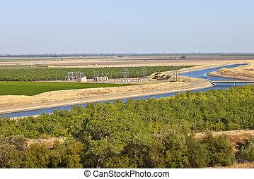 California aquaduct and farmlands. - California aquaduct in...
