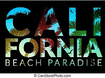 California background with palm. Vector background beach. Summer tropical banner design. Paradise poster template illustration