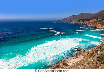 California beach in Big Sur in Monterey County Route 1 - ...