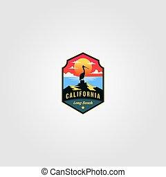 california beach logo vector pelican bird illustration design