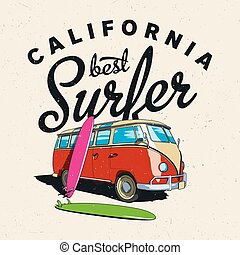 California Best Surfer Poster with bus and board on...