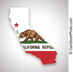 california ca flag in state map vector