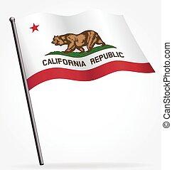 California ca state flag waving on flagpole vector