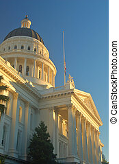 California Capitol building in Sacramento illuminated by the...