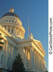 California Capitol building in Sacramento illuminated by the...