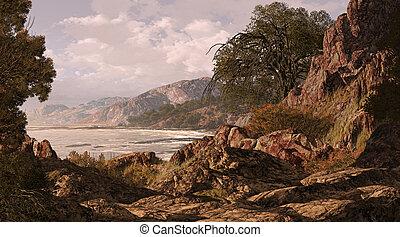 A California coastline seascape scene.
