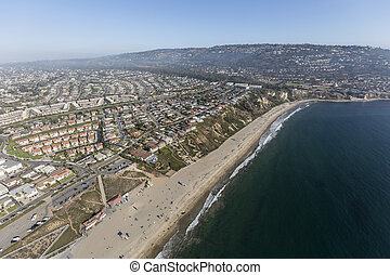 Aerial view of Torrance Beach and Rancho Palos Verdes in Los Angeles County, California.