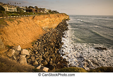 California Coastal Cliffs and house