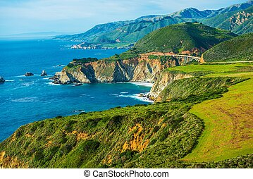California Coastal Highway 1. Scenic Route. Pacific Ocean...
