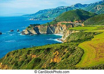 California Coastal Highway 1. Scenic Route. Pacific Ocean...