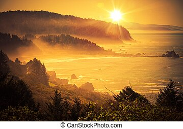 California Coastal Sunset. Shoreline Between Crescent City ...