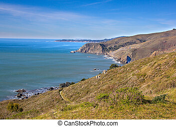 California coastline in Tamalpais state park, Marin county.