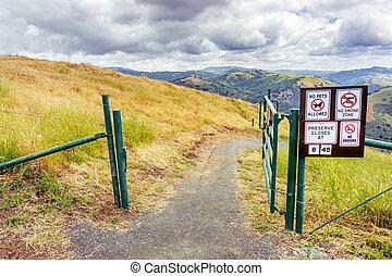 california, colline, vista, sud, jose, osp, sierra, francisco, san, zona, hiking traccia, baia