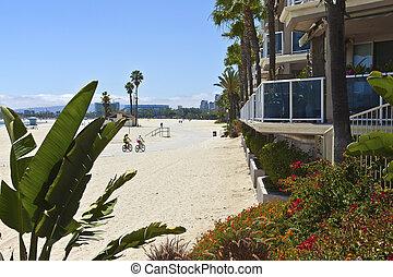 california., condomínios, praia, longo, vistas